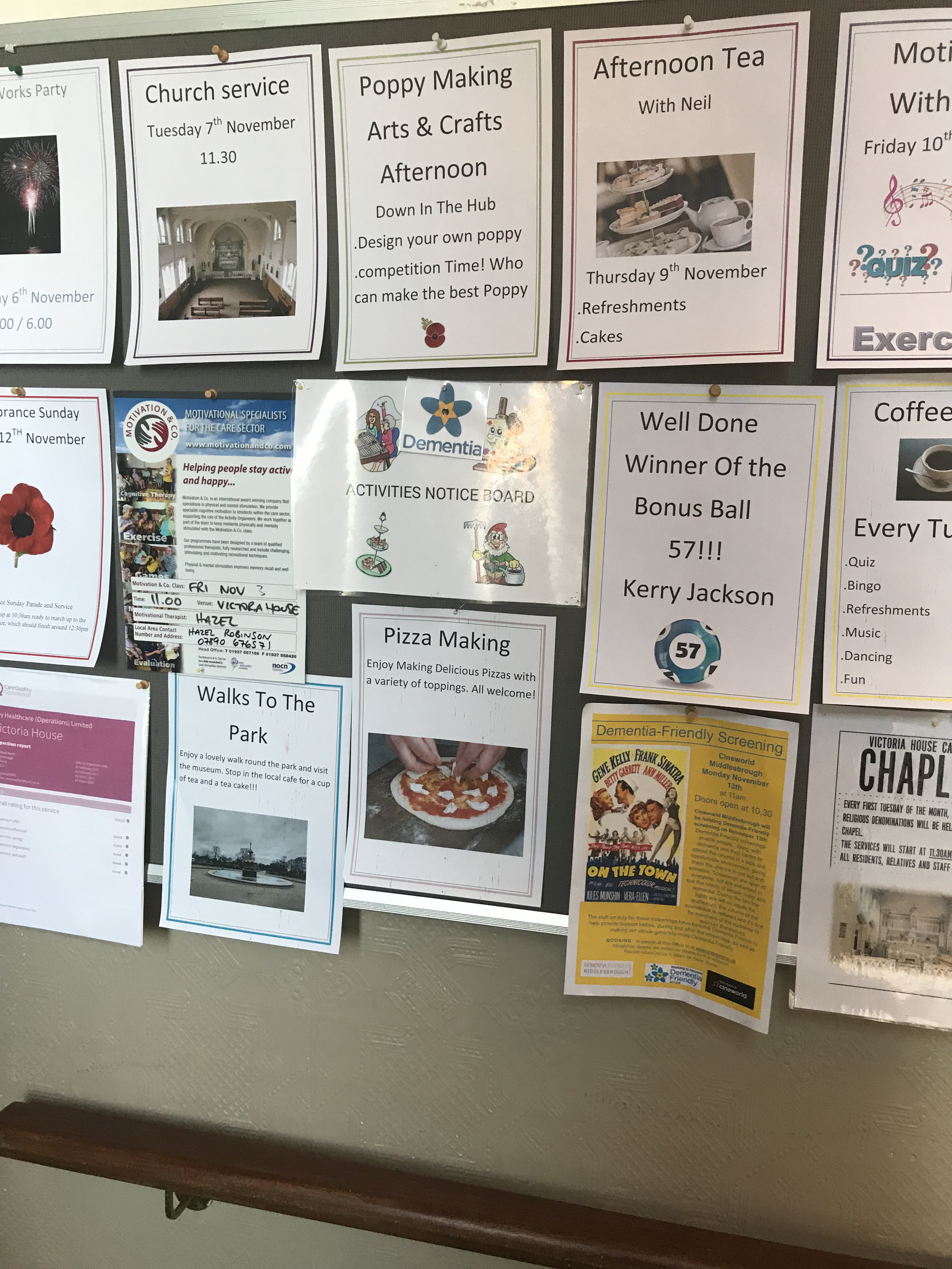 Activities Notice Board at Victoria House Care Centre Nov 2017: Key Healthcare is dedicated to caring for elderly residents in safe. We have multiple dementia care homes including our care home middlesbrough, our care home St. Helen and care home saltburn. We excel in monitoring and improving care levels.